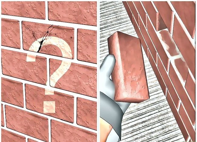Prent getiteld Vervang `n beskadigde baksteen Stap 1