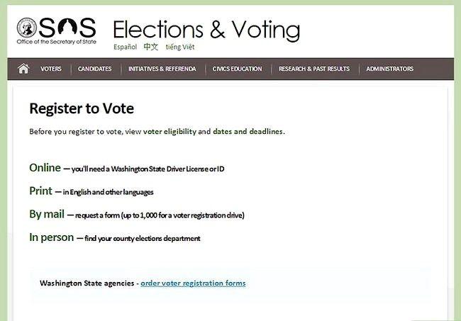 Prent getiteld Registreer om te stem in Washington Stap 2