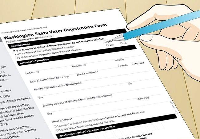 Prent getiteld Registreer om te stem in Washington Stap 21