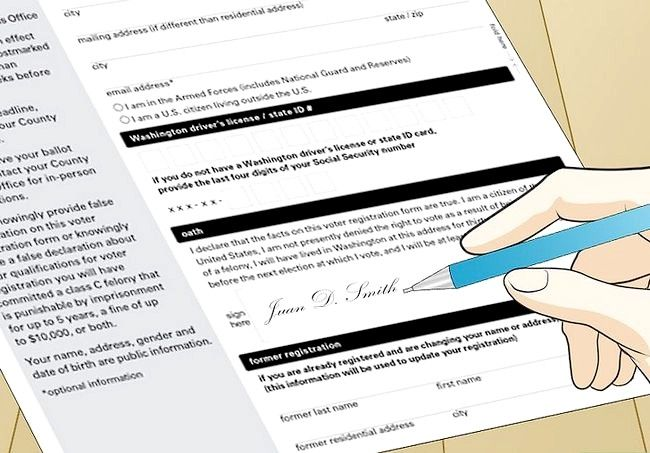 Prent getiteld Registreer om te stem in Washington Stap 23