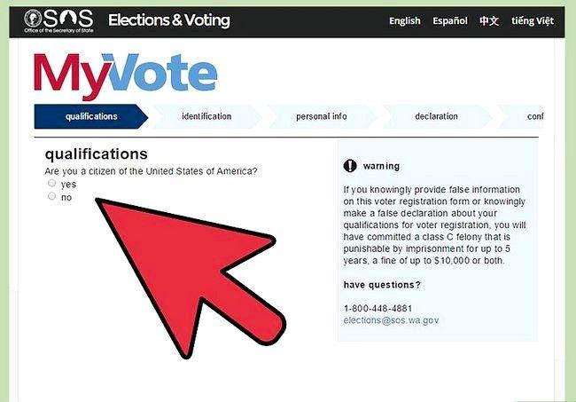 Prent getiteld Registreer om te stem in Washington Stap 5
