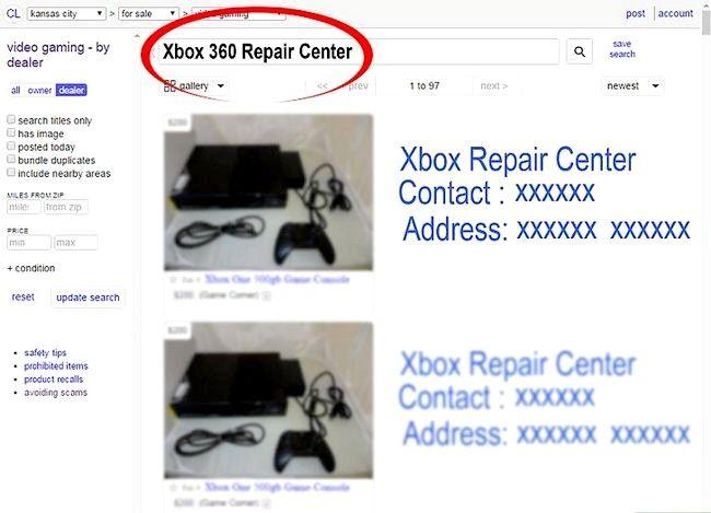 Prent getiteld `n Xbox 360 herstel Nie op stap 13 aangeskakel nie