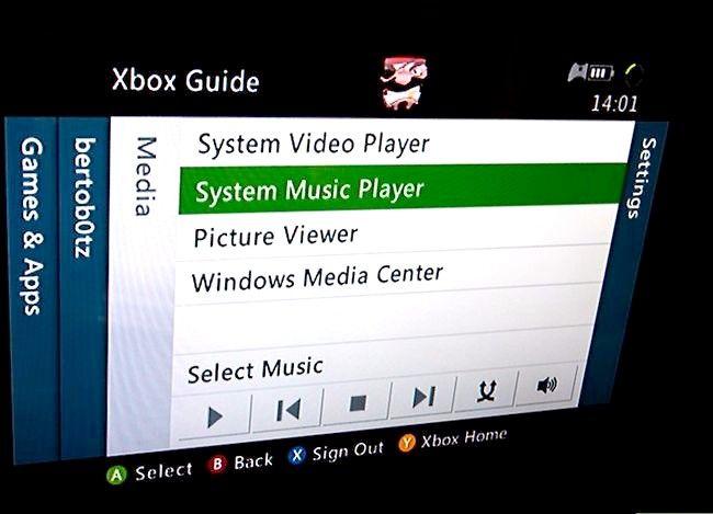 Beeld getiteld Speel jou musiek op `n Xbox 360-speletjie stap 3