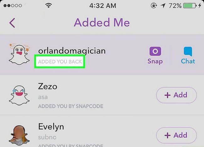 Prent getiteld Vertel as iemand jou op Snapchat Stap 4 bygevoeg het