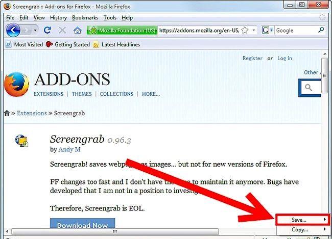 Prent titel Get Screenshots Gebruik die Firefox Screengrab Plugin Stap 6