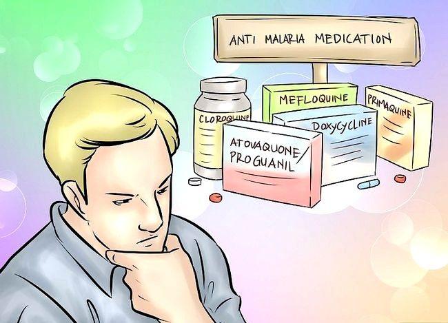 Prent getiteld Behandel Malaria Stap 3