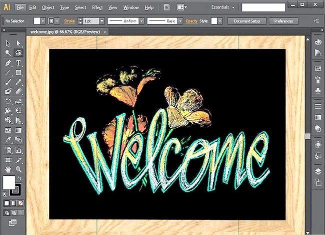 Prent getiteld Gebruik Adobe Illustrator Stap 1