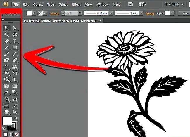 Prent getiteld Gebruik Adobe Illustrator Stap 3