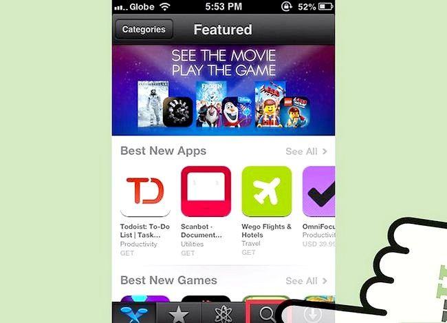 Prent getiteld Gebruik die iPhone App Store Stap 3