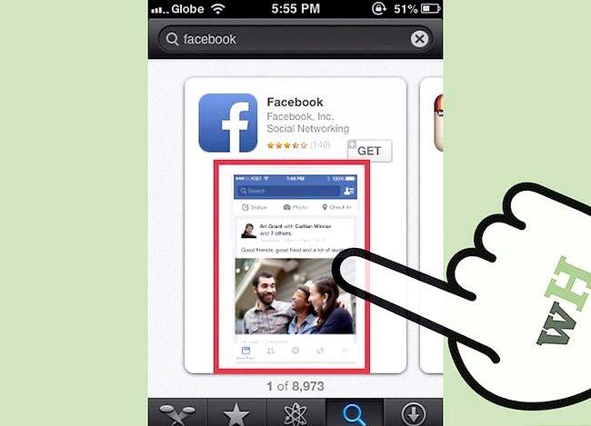 Prent getiteld Gebruik die iPhone App Store Stap 4