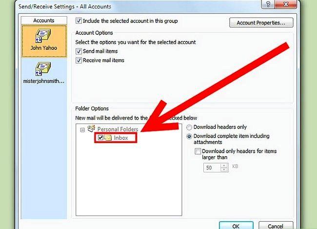 Beeld getiteld Download Mail vir `n Imap-rekening met Outlook Stap 6