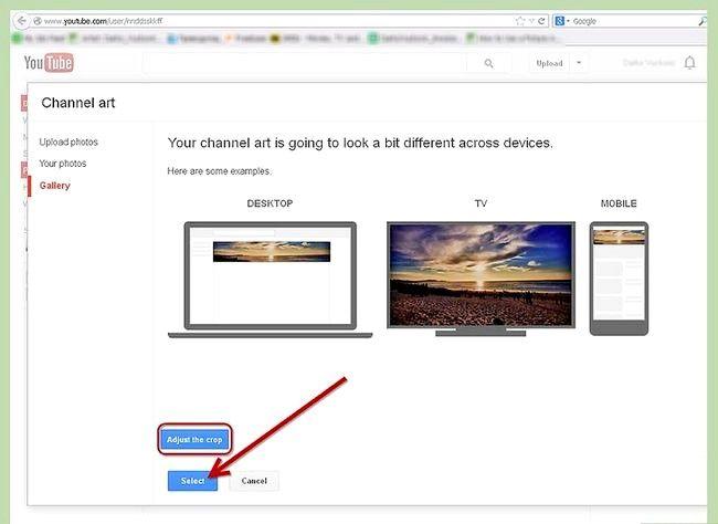 Prent getiteld Gebruik `n foto as jou YouTube Profiel Agtergrond Stap 5