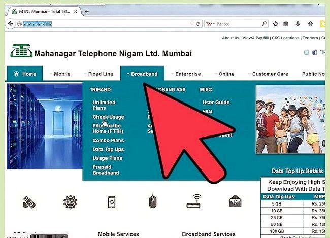 Prent getiteld Gaan Internet Data Gebruik in MTNL Stap 2 na
