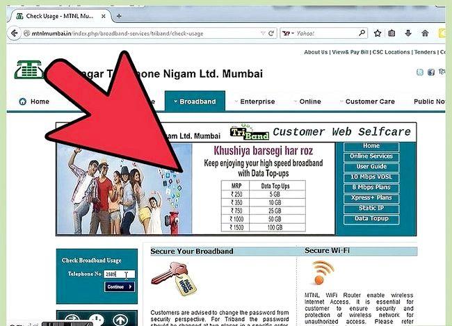 Prent getiteld Gaan Internet Data Gebruik in MTNL Stap 3