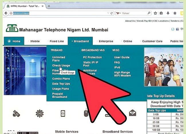 Prent getiteld Gaan Internet Data Gebruik in MTNL Stap 5