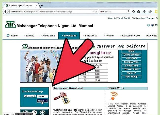 Prent getiteld Gaan Internet Data Gebruik in MTNL Stap 6 na